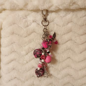 Pink and Black Beaded Purse Charm