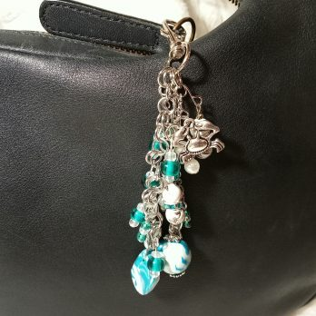 Teal Blue and Pearl Beaded Purse Charm