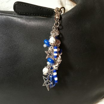 Blue and White Beaded Purse Charm