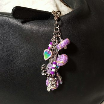 Purple and White Beaded Purse Charm