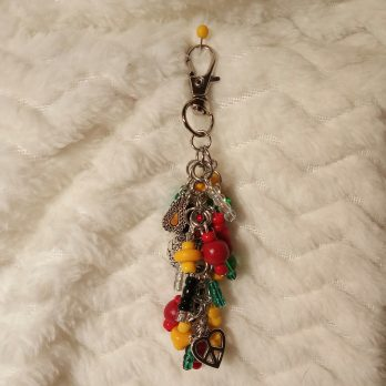 Yellow, Black and Green Beaded Purse Charm
