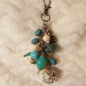 Blue, Pearl and Clear Beaded Purse Charm