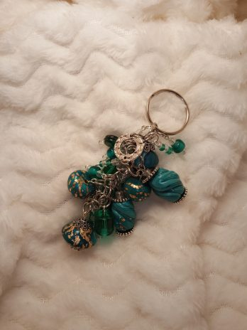 Teal Blue and Clear Beaded Key Chain