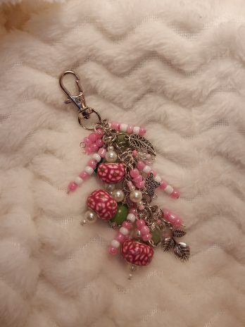 Pink, White and Green Beaded Purse Charm