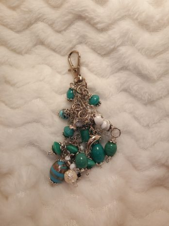 Teal Green and White Beaded Purse Charm