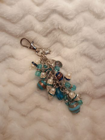 Blue and Pearl Beaded Purse Charm