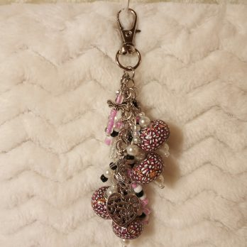 Pink, Black and Pearl Beaded Purse Charm