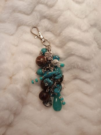 Turquoise Blue and Brown Beaded Purse Charm