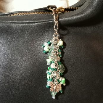 Teal Green and Clear Beaded Purse Charm