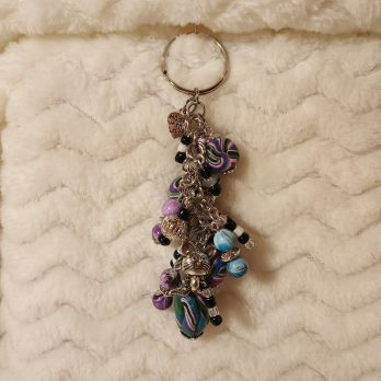 Blue and Purple Beaded Key Chain